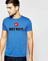 Брендовая футболка Nike, найк, синяя, большое лого, мужская, летняя, хлопок, КП175