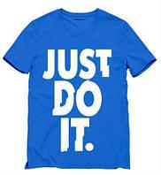 Брендовая футболка Nike, найк, джаст ду ит, синяя, стильная, мужская, летняя, хлопок, КП183