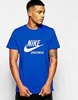 Брендовая футболка Nike, найк, синяя, стильная, мужская, летняя, молодежные в наличии, хлопок, КП212