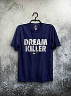 Брендовая футболка Nike, найк, темно-синяя, мужская, летняя, большое лого, трикотаж, КП237