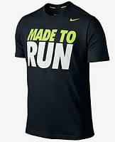 Брендовая футболка Nike, найк, ран, черная, мужская, трикотаж, стильная, КП291