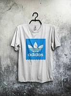 Брендовая футболка Adidas, адидас, белая, мужская, синее лого, стильная, в наличии, КП 301