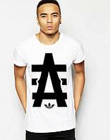 Брендовая футболка Adidas, адидас, белая, мужская, черное лого, в наличии, КП 302