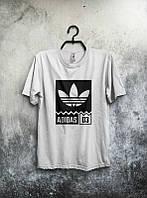 Брендовая футболка Adidas, адидас, белая, мужская, молодежная, в наличии, КП 303