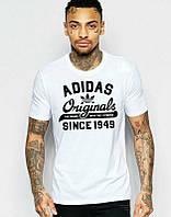 Брендовая футболка Adidas, адидас, белая, мужская, в наличии, летняя, хб, КП 304