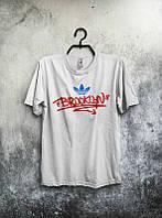 Брендовая футболка Adidas, адидас, белая, мужская, в наличии, летняя, красное лого, хб, КП 307