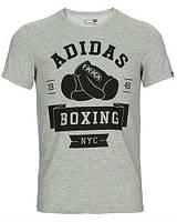 Брендовая футболка Adidas, адидас, боксинг, серая, мужская, черное лого, летняя, хлопок, КП 340