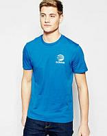 Брендовая футболка Adidas, адидас, синяя, мужская, в наличии, хб, мелкое лого, стильная,  КП361