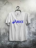 Брендовая футболка ASICS, асикс, белая, мужская, хлопковая, синее лого, в наличии, КП412