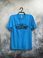 Брендовая футболка VANS, ванс, синяяя, мужская, хлопковая, черное лого, в наличии, КП428
