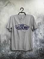 Брендовая футболка VANS, ванс, серая, мужская, хлопковая, цветное лого, в наличии, КП426