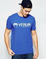 Брендовая футболка VENUM, венум, синяя, мужская, хлопковая, белое лого, в наличии, КП440