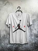 Брендовая футболка JORDAN, джордан, белая, черное лого , мужская, трикотаж, КП458