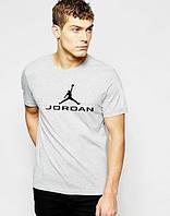 Брендовая футболка JORDAN, джордан, серая, черное лого , стильная, молодежная, мужская, КП476
