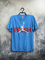 Брендовая футболка JORDAN, джордан, синяя, большое лого , стильная, трикотаж, мужская, КП494
