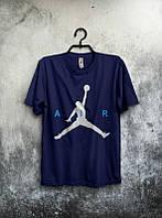 Брендовая футболка JORDAN, джордан, темно-синяя, большое лого , стильная,  мужская, трикотаж, КП507