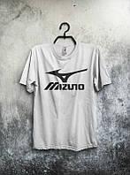 Брендовая футболка MIZUNO, мизуно, белая, большое лого, мужская, летняя, хлопок, в наличии, КП545