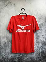 Брендовая футболка MIZUNO, мизуно, красная, белое лого, мужская, летняя, хлопок, в наличии, КП546