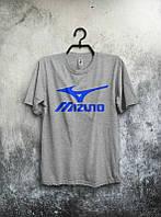 Брендовая футболка MIZUNO, мизуно, серая, синее лого, мужская, летняя, хлопок, в наличии, КП547