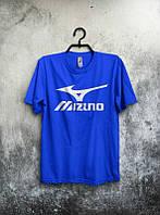Брендовая футболка MIZUNO, мизуно, синяя, белое лого, мужская, летняя, хлопок, в наличии, КП550