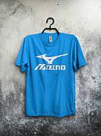 Брендовая футболка MIZUNO, мизуно, синяя, большое лого, мужская, летняя, хлопок, в наличии, КП551