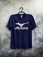 Брендовая футболка MIZUNO, мизуно, темно-синяя, большое лого, мужская, хлопок, в наличии, КП552