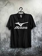 Брендовая футболка MIZUNO, мизуно, черная, белое лого, мужская, летняя, хлопок, в наличии, КП553