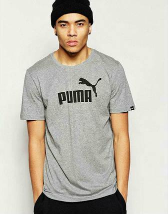d2c70c73330a Брендовая футболка Puma, пума, серая, черное лого, мужская, хб, в ...