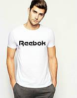 Брендовая футболка Reebok, рибок, белая, на груди лого, молодежная, в наличии, КП625
