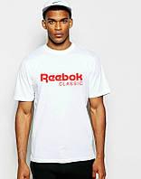 Брендовая футболка Reebok, рибок, белая, красное лого, мужская, летняя, хб, в наличии, КП634