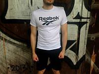Брендовая футболка Reebok, рибок, белая, синее лого, мужская, летняя, хб, в наличии, КП633
