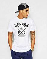 Брендовая футболка Reebok, рибок, белая, большое лого, мужская, летняя, хб, в наличии, КП636