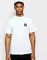 Брендовая футболка Reebok, рибок, белая, мелкое лого, мужская, летня, хлопок, в наличии, КП647