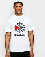 Брендовая футболка Reebok, рибок, белая, цветное лого, мужская, хлопок, в наличии, КП649
