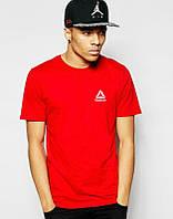 Брендовая футболка Reebok, рибок, красная, мелкое лого, мужская, летня, хлопок, в наличии, КП651