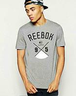 Брендовая футболка Reebok, рибок, серая, мужская, летняя, хлопок, в наличии, КП668