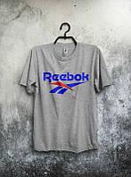Брендовая футболка Reebok, рибок, серая, мужская, летняя, хлопковая, в ассортименте, КП671