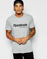 Брендовая футболка Reebok, рибок, серая, мужская, летняя, хлопковая, в ассортименте, стильная, КП673