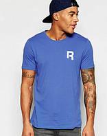 Брендовая футболка Reebok, рибок, синяя, мужская, летняя, хлопок, в наличии, КП688