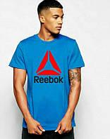 Брендовая футболка Reebok, рибок, синяя, мужская, летняя, красное лого, хб,  в наличии, КП703