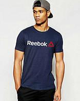 Брендовая футболка Reebok, рибок, темно-синяя, мужская, летняя, хлопок, в наличии, КП713