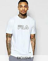 Брендовая футболка Fila, фила, белая, синее лого, мужская, трикотаж, КП735