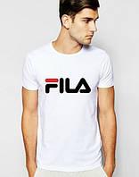 Брендовая футболка Fila, фила, белая, мелкое лого, стильная, мужская, трикотаж, КП739