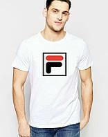 Брендовая футболка Fila, фила, белая, большое лого, мужская, трикотаж, КП736