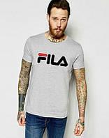 Брендовая футболка Fila, фила, серая, мужская, черное лого, хб, летняя, КП750
