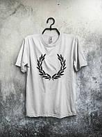 Брендовая футболка Fred Perry, фред пери, белая, мужская, черное лого, в наличии, КП764