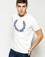 Брендовая футболка Fred Perry, фред пери, белая, мужская, синее лого, в наличии, КП766