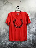 Брендовая футболка Fred Perry, фред пери, красная, мужская, черное лого, хлопок, в наличии, КП768