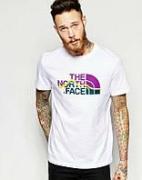Брендовая футболка, белая, норт фейс, цветное лого, стильная, унисекс, в наличии, КП820