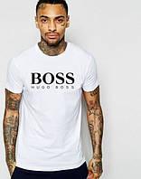 Брендовая футболка, белая, черное лого, стильная, в наличии, трикотаж, КП838